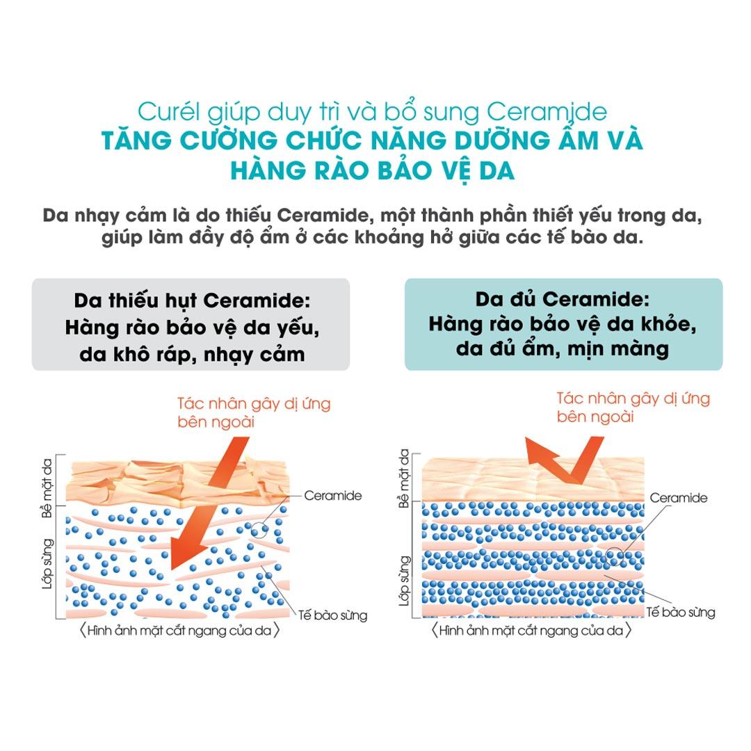 Kem Chống Nắng Curél UV Protection Face Cream SPF 30 PA+++  chứa Ceramide chức năng (Cetyl-PG Hydroxyethyl Palmitamide), kết hợp chiết xuất khuynh diệp Eucalyptus và chiết xuất nhai bách Thujopsis Dolabrata, giúp cấp ẩm sâu vào trong lớp biểu bì, tăng cường dưỡng ẩm cho da, ngăn ngừa da khô ráp và giảm tổn thương da do tia UV. Da được dưỡng ẩm tối ưu từ bên trong.