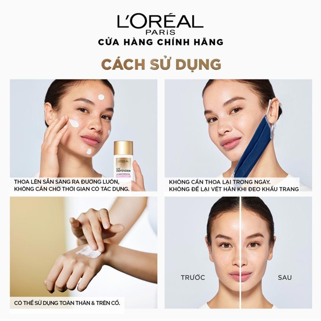 Hướng dẫn sử dụng Kem Chống Nắng L'Oreal Paris UV Defender UV Serum Protector SPF 50+ PA++++