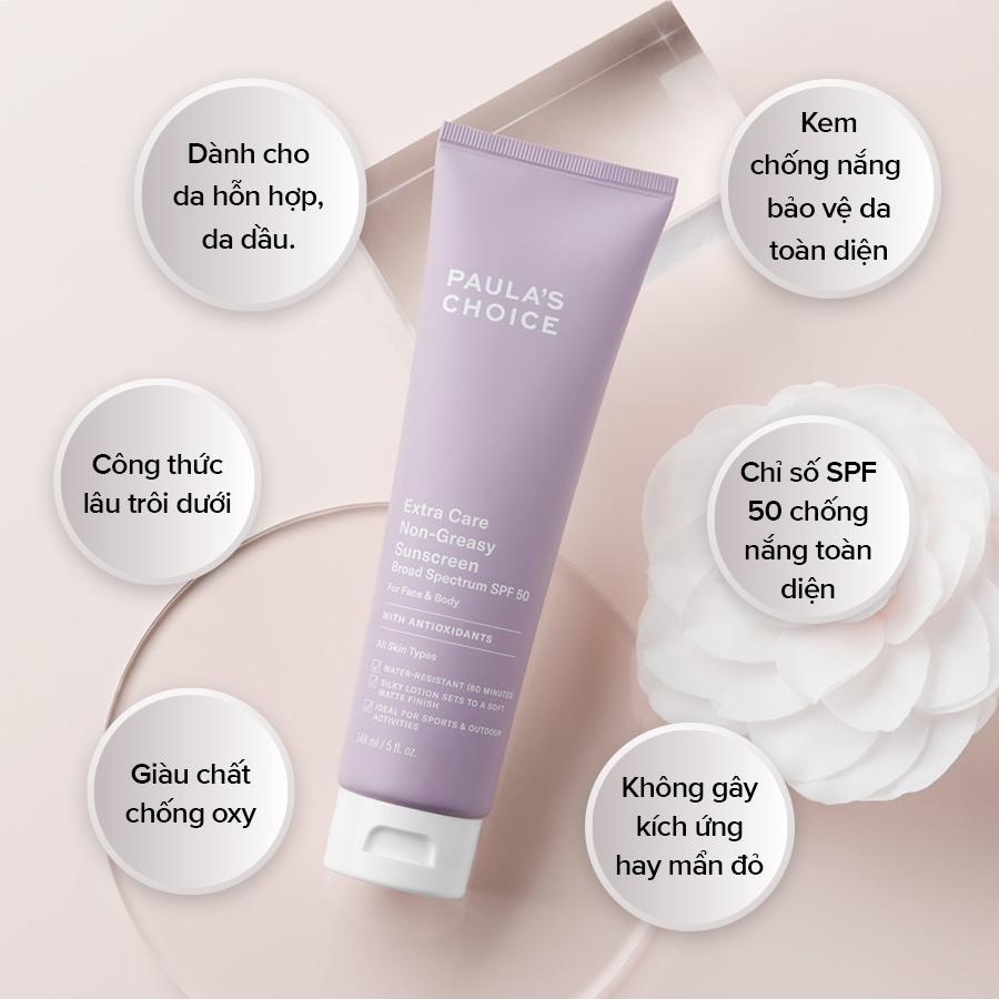 Kem Chống Nắng Paula's Choice Extra Care Non-Greasy Sunscreen SPF50 Bảo Vệ Da Toàn Diện 148ml
