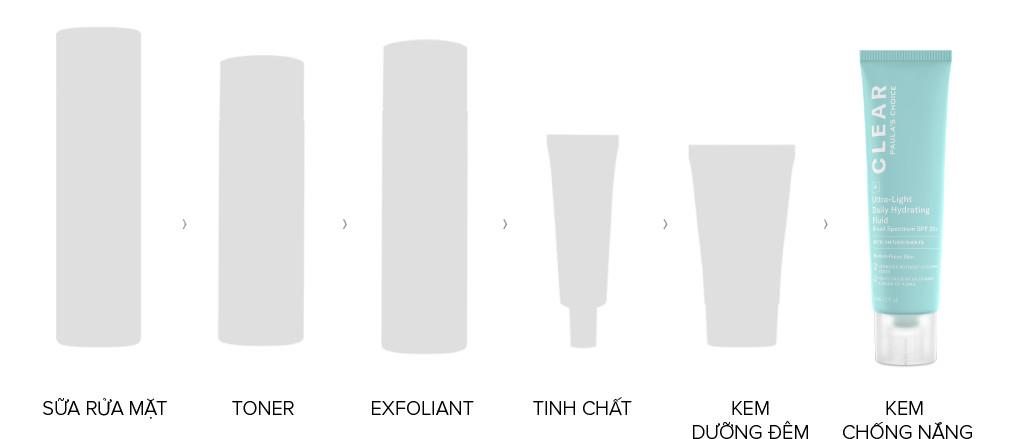Sử dụng Kem Chống Nắng Paula's Choice Clear Ultra-Light Daily Hydrating Fluid Broad Spectrum SPF 30+ vào ban ngày, ở cuối chu trình chăm sóc da.