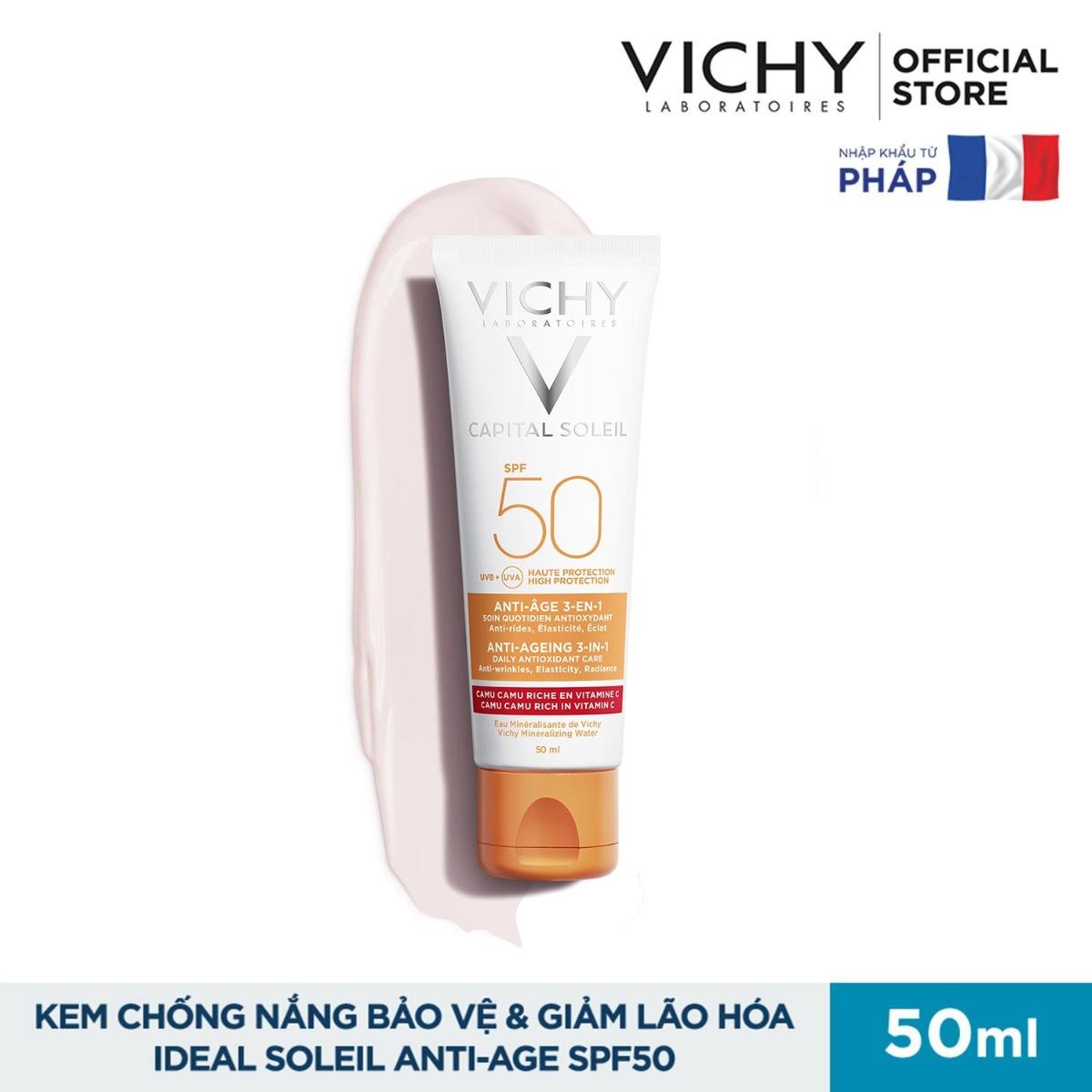 Kem Chống Nắng Vichy Bảo Vệ Da, Ngăn Ngừa Lão Hóa Ideal Soleil Anti-Aging SPF50 UVA + UVB 50ml hiện đã có mặt tại Hasaki