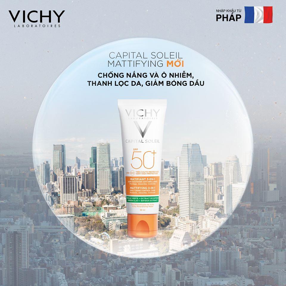 Kem Chống Nắng Vichy Kiềm Dầu Capital Soleil Mattifying 3in1 SPF50+