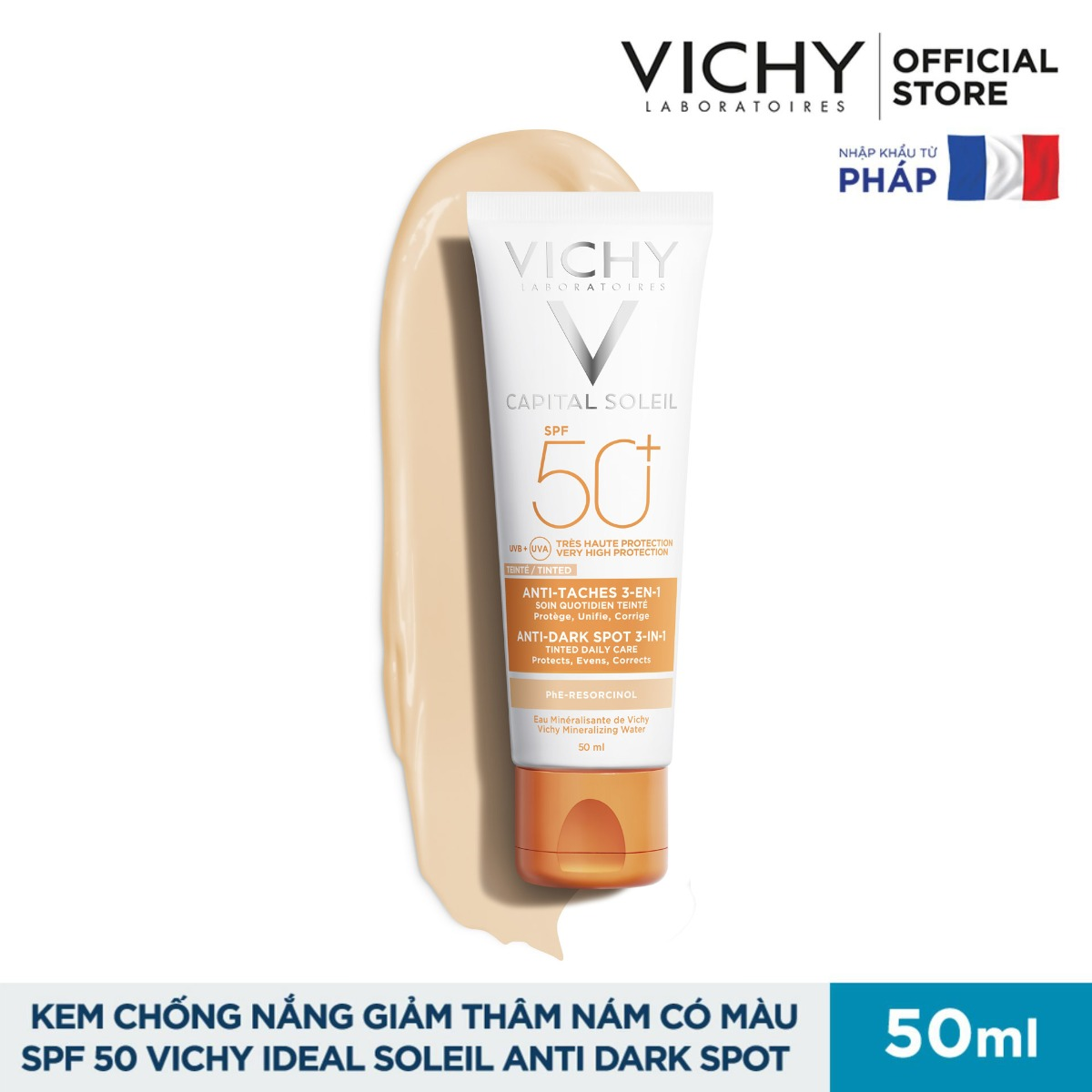 Kem Chống Nắng Vichy Capital Soleil Anti-Dark Spot 3-in-1 Tinted Daily Care SPF 50 UVA + UVB