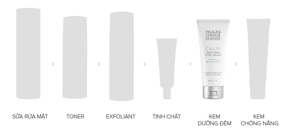 Sử dụng Kem Dưỡng Ẩm Paula's Choice Calm Restoring Moisturizer Normal To Oily/Combination ở bước cuối cùng của chu trình chăm sóc da vào ban đêm.