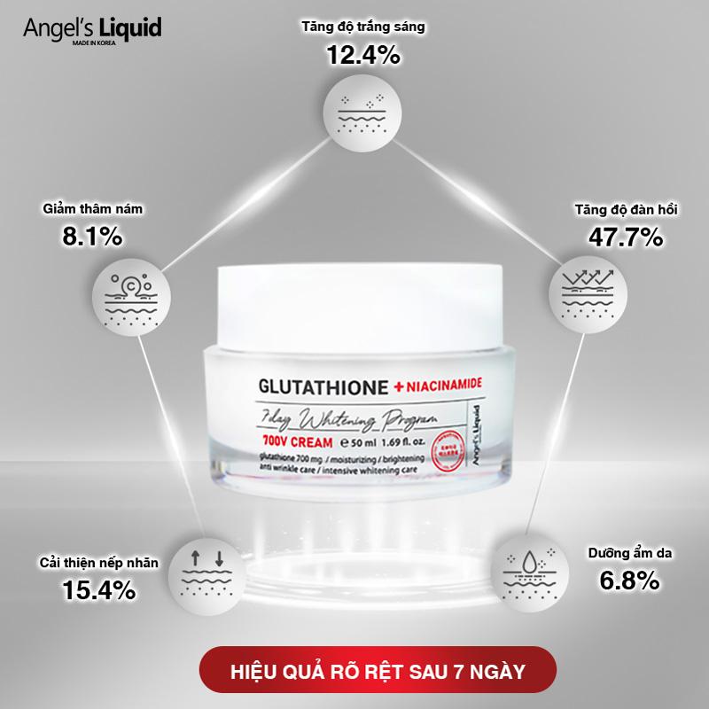 Kem Dưỡng Angel's Liquid Glutathione + Niacinamide 7Day Whitening Program 700 V-Cream Dưỡng Sáng Da, Mờ Thâm Nám 50ml hiện đã có mặt tại Hasaki