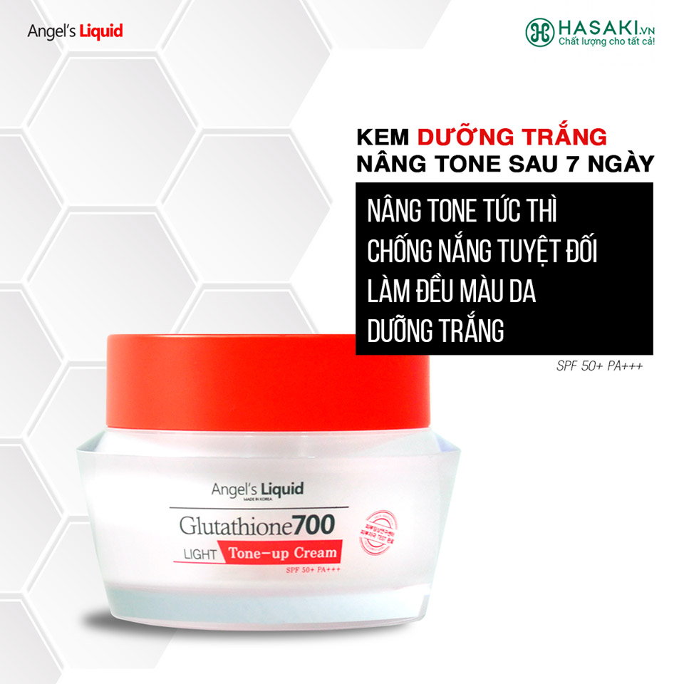 Kem Dưỡng Angel's Liquid Làm Sáng Da Glutathione 700 Light Tone-Up Cream SPF50+/PA+++