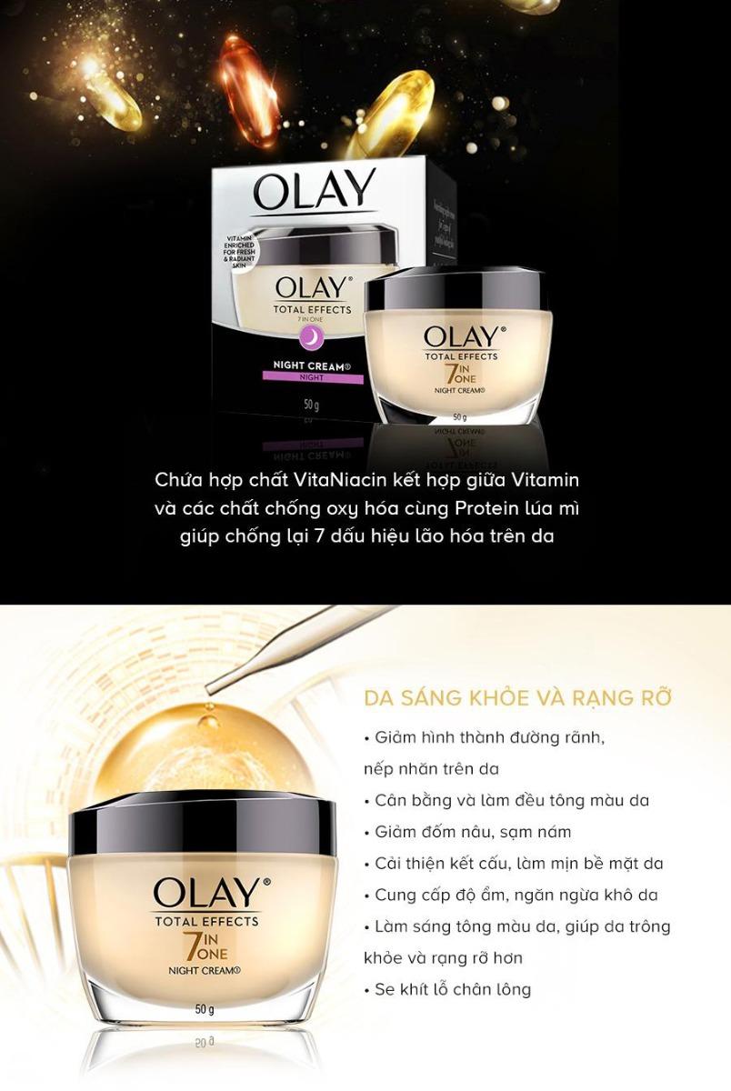 Kem Dưỡng Ban Đêm Olay Total Effects giúp duy trì làn da tươi trẻ và mịn màng