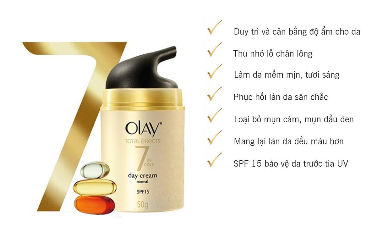 Kem Dưỡng Ban Ngày Olay Total Effects giúp duy trì làn da tươi trẻ và mịn màng