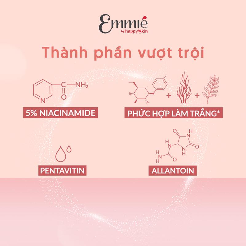 Kem Dưỡng Emmié Face & Body 5% Niacinamide Emulsion chứa Niacinamide 5% giúp dưỡng sáng da an toàn, lành tính.