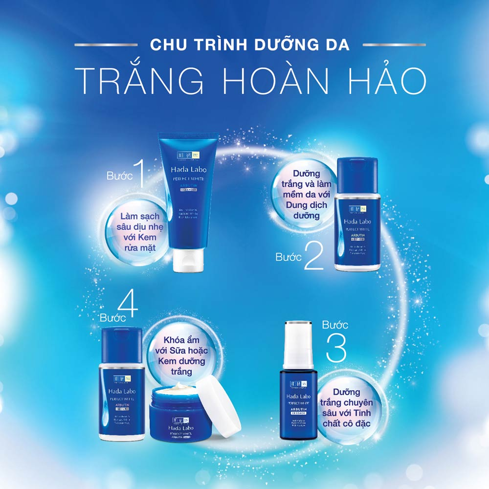 Sử dụng trọn bộ Hada Labo Perfect White để đạt kết quả dưỡng sáng da tối ưu nhất