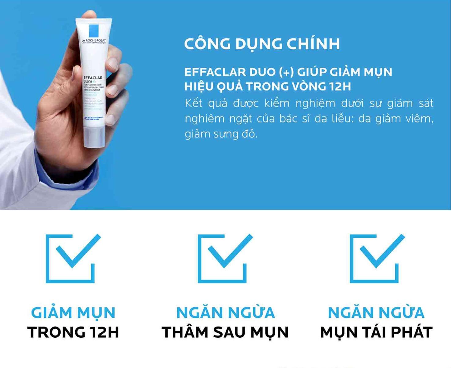 Kem Dưỡng La Roche-Posay Giảm Mụn, Ngừa Vết Thâm (Không Màu) Effaclar Duo Plus