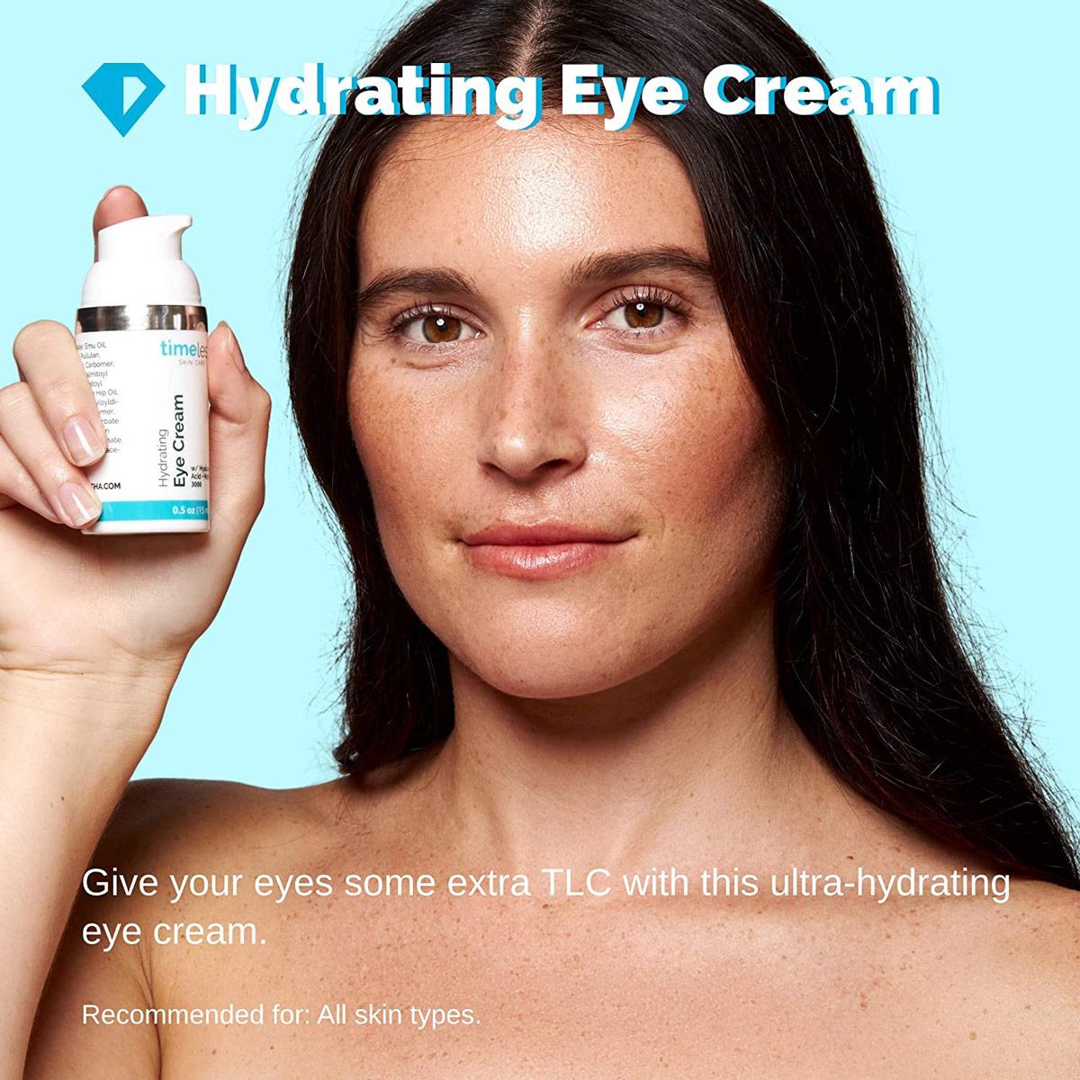 Kem Dưỡng Mắt Timeless Hydrating Eye Cream chứa nồng độ 2.4% Matrixyl®️ 3000 có tác dụng tối đa hóa quá trình tổng hợp collagen kết hợp với Hyaluronic Acid giúp dưỡng ẩm mạnh mẽ.