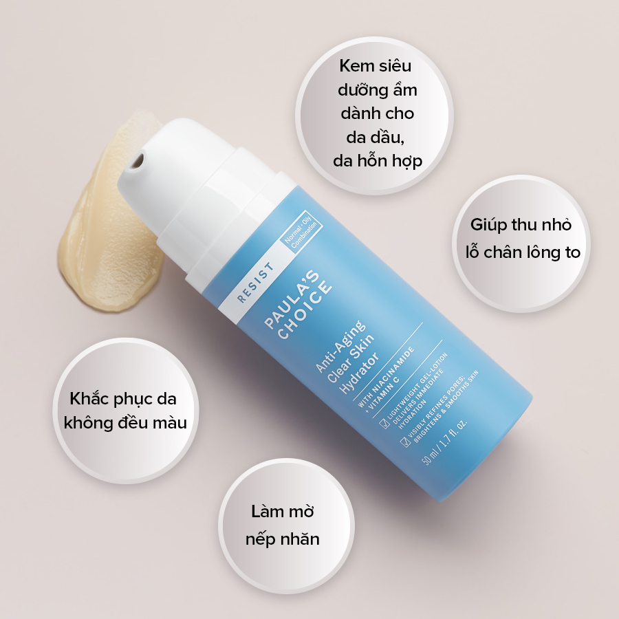 Kem Dưỡng Làm Sáng Da, Ngừa Lão Hóa Paula's Choice Resist Anti-Aging Clear Skin Hydrator