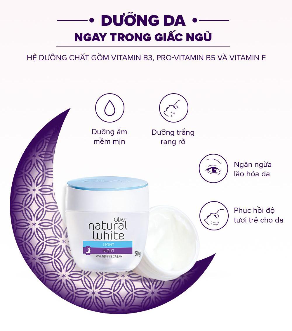 Kem Dưỡng Sáng Da Ban Đêm Olay Natural White LIGHT NIGHT Whitening Cream 50g