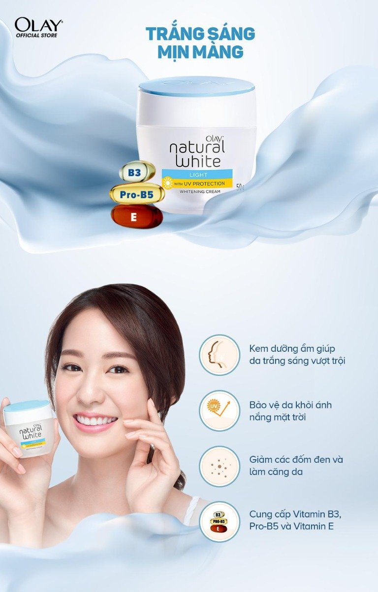 Kem Dưỡng Sáng Da Ban Ngày Olay Natural White LIGHT with UV Protection Whitening Cream