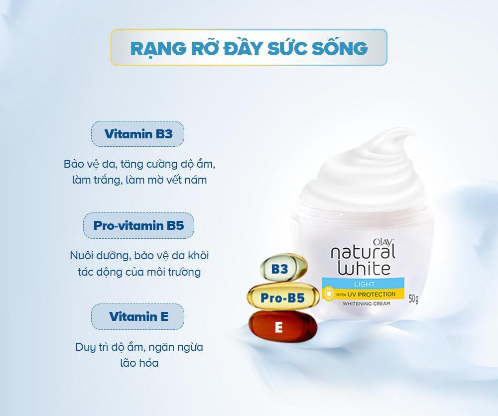 Kem Dưỡng Sáng Da Ban Ngày Olay Natural White UV chứa Vitamin B3, Pro Vitamin B5 và Vitamin E