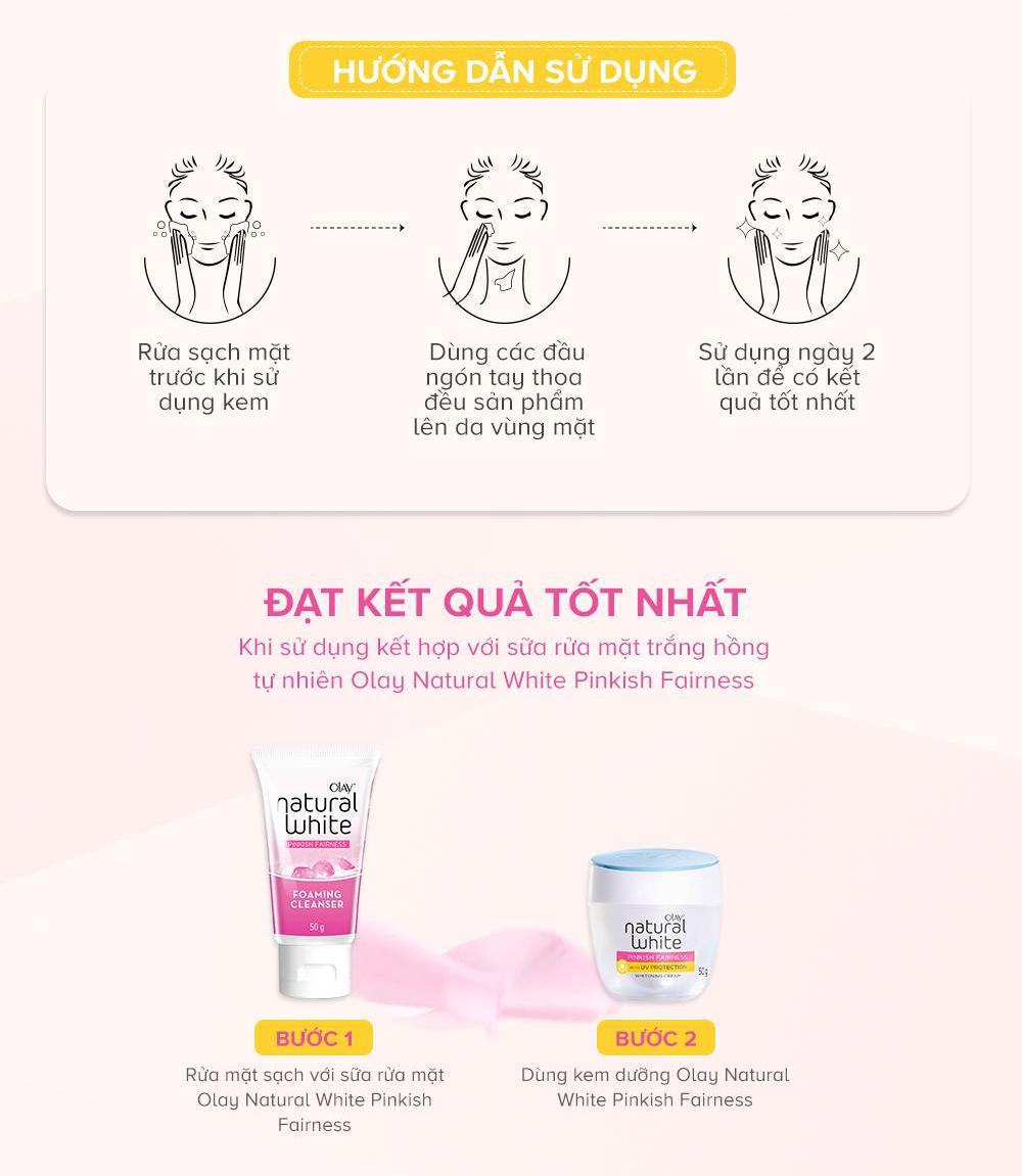 Cách sử dụng Kem Dưỡng Olay Natural White UV để da sáng hồng tự nhiên