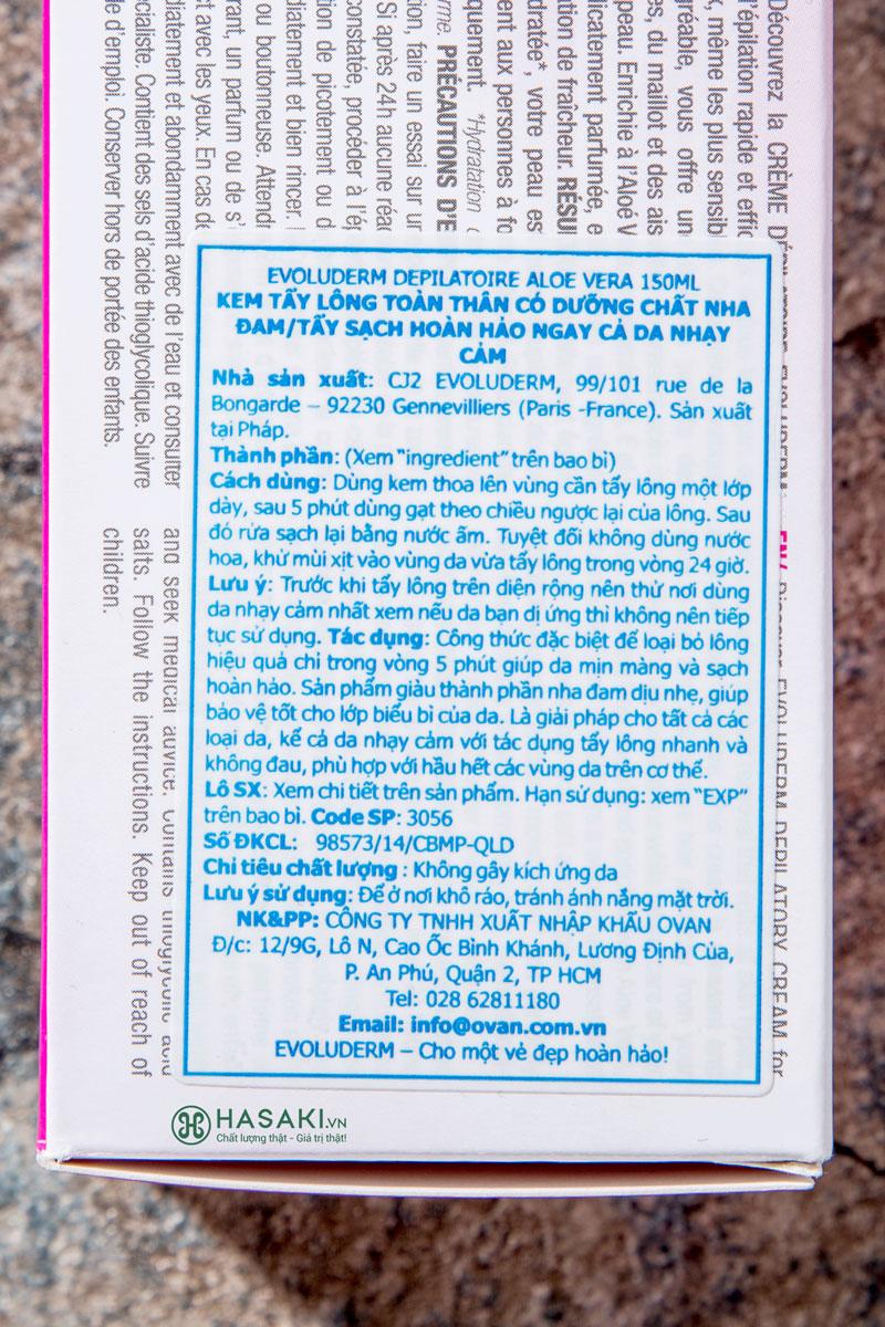 Kem Tẩy Lông Từ Nha Đam Evoluderm Creme Depilatoire Aloe Vera 150ml hiện đã có mặt Hasaki