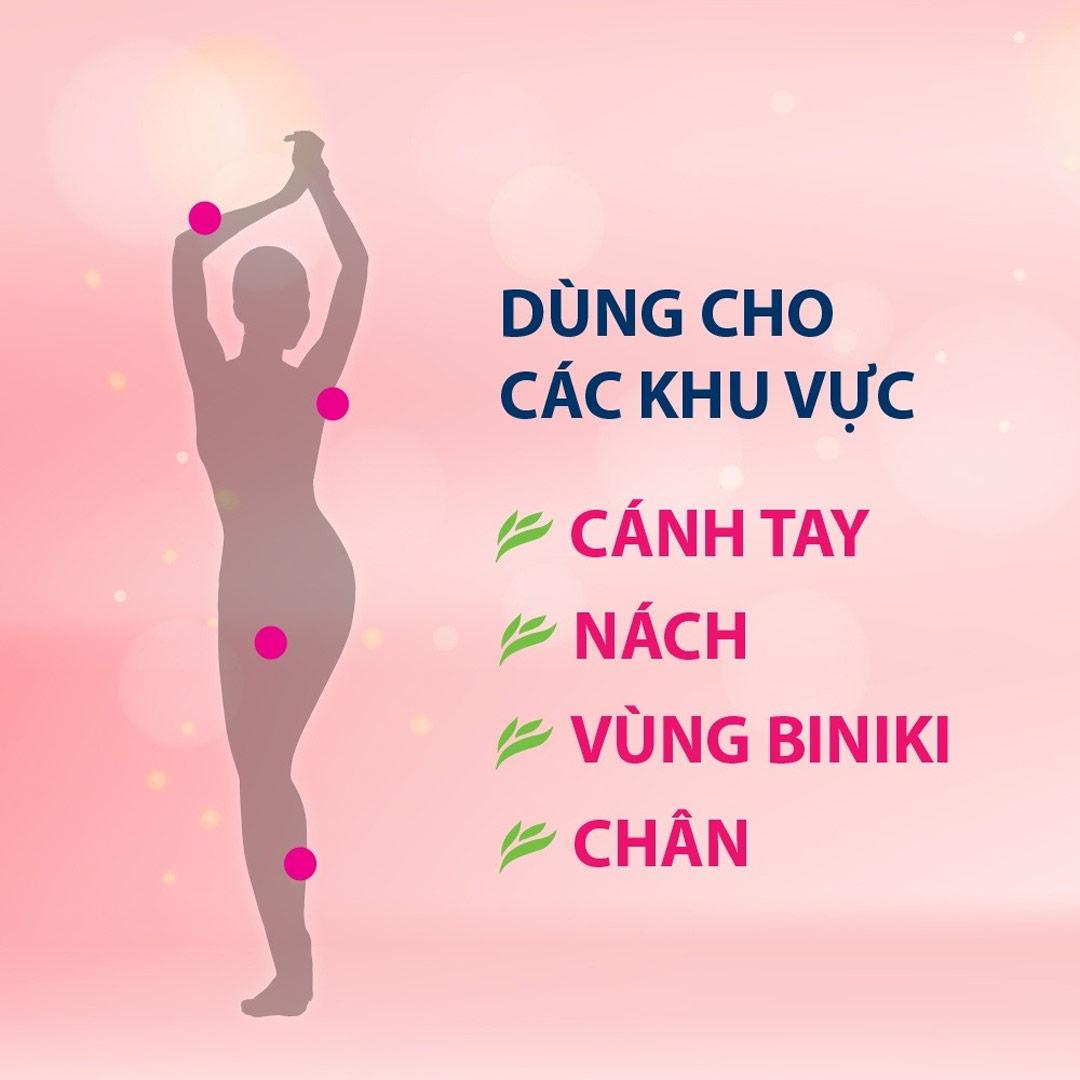 Kem Tẩy Lông Veet Silk & Fresh dùng được cho nhiều vùng da khác nhau trên cơ thể như: cánh tay, nách, vùng bikini, chân