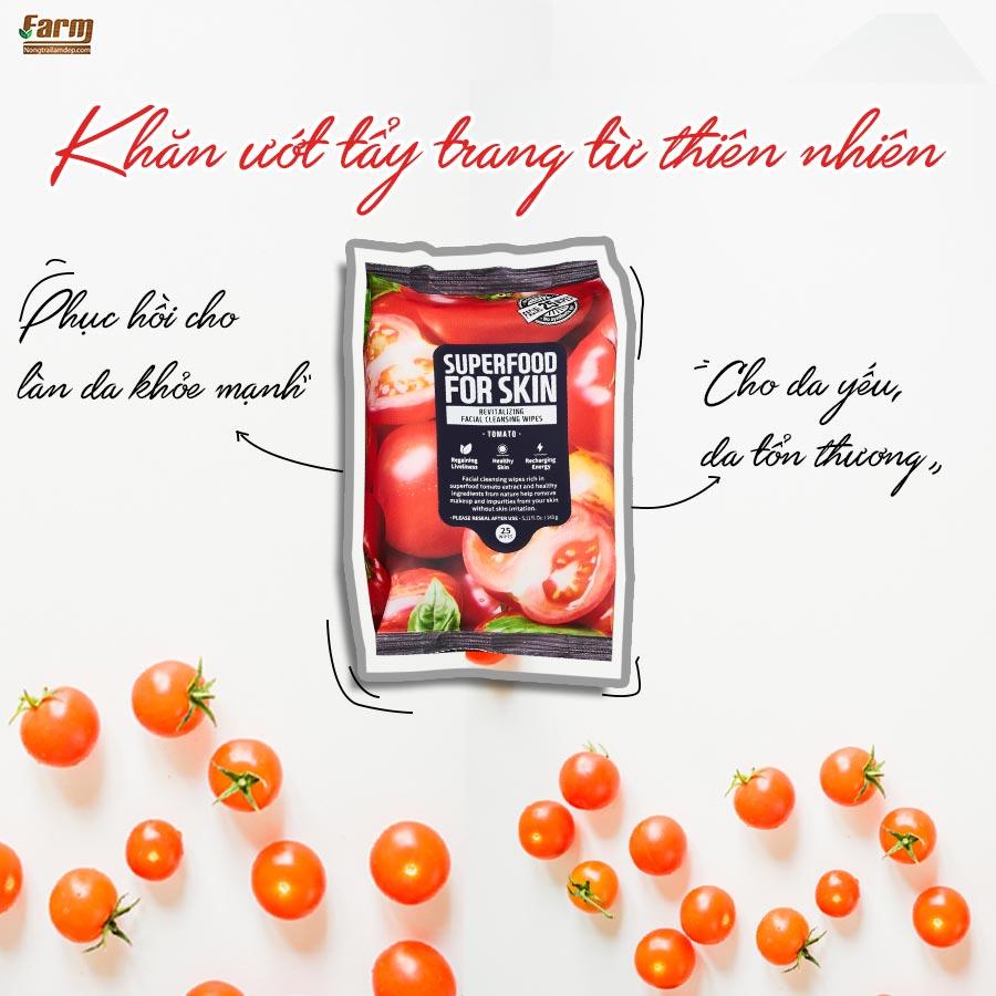 Khăn Ướt Tẩy Trang Farmskin Superfood For Skin Cleansing Wipes Tomato giúp phục hồi làn da yếu, tổn thương