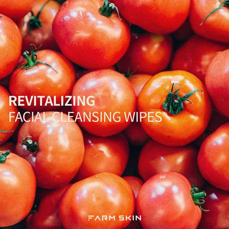 Khăn Ướt Tẩy Trang Farmskin Superfood For Skin Cleansing Wipes Tomato giúp chống oxy hóa, bảo vệ da khỏi gốc tự do và dưỡng sáng da