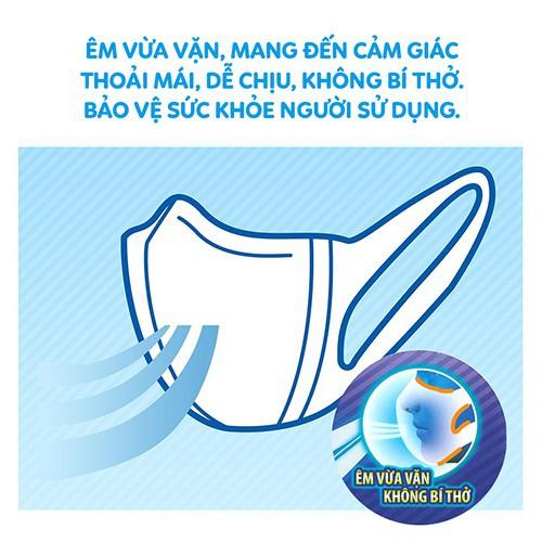 Khẩu Trang Unicharm 3D Mask Virus Block Ngăn Virus cho cảm giác thoải mái, dễ chịu, không gây bí thở mà vẫn đảm bảo giữ nhiệt và độ ẩm cho mũi và họng vào mùa đông.
