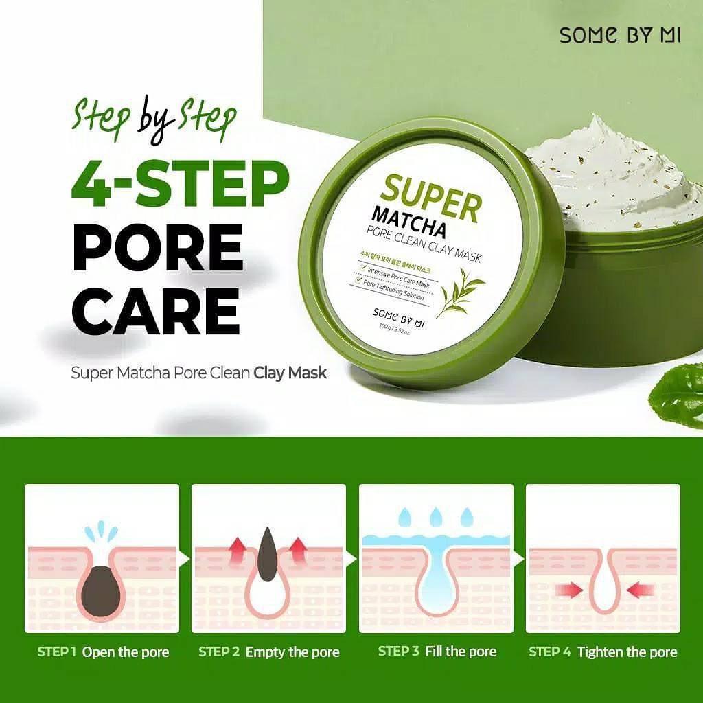 Mặt Nạ Đất Sét Some By Mi Super Matcha Pore Clean Clay Mask se khít lỗ chân lông