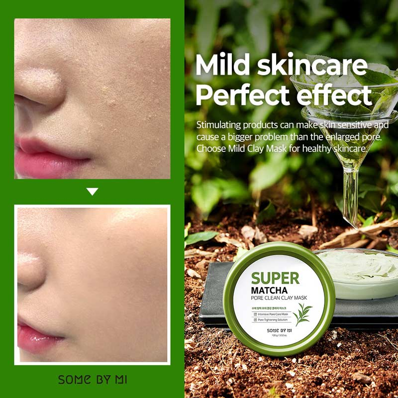 Mặt Nạ Đất Sét Some By Mi Super Matcha Pore Clean Clay Mask cải thiện làn da sần sùi, thô ráp, thiếu sức sống