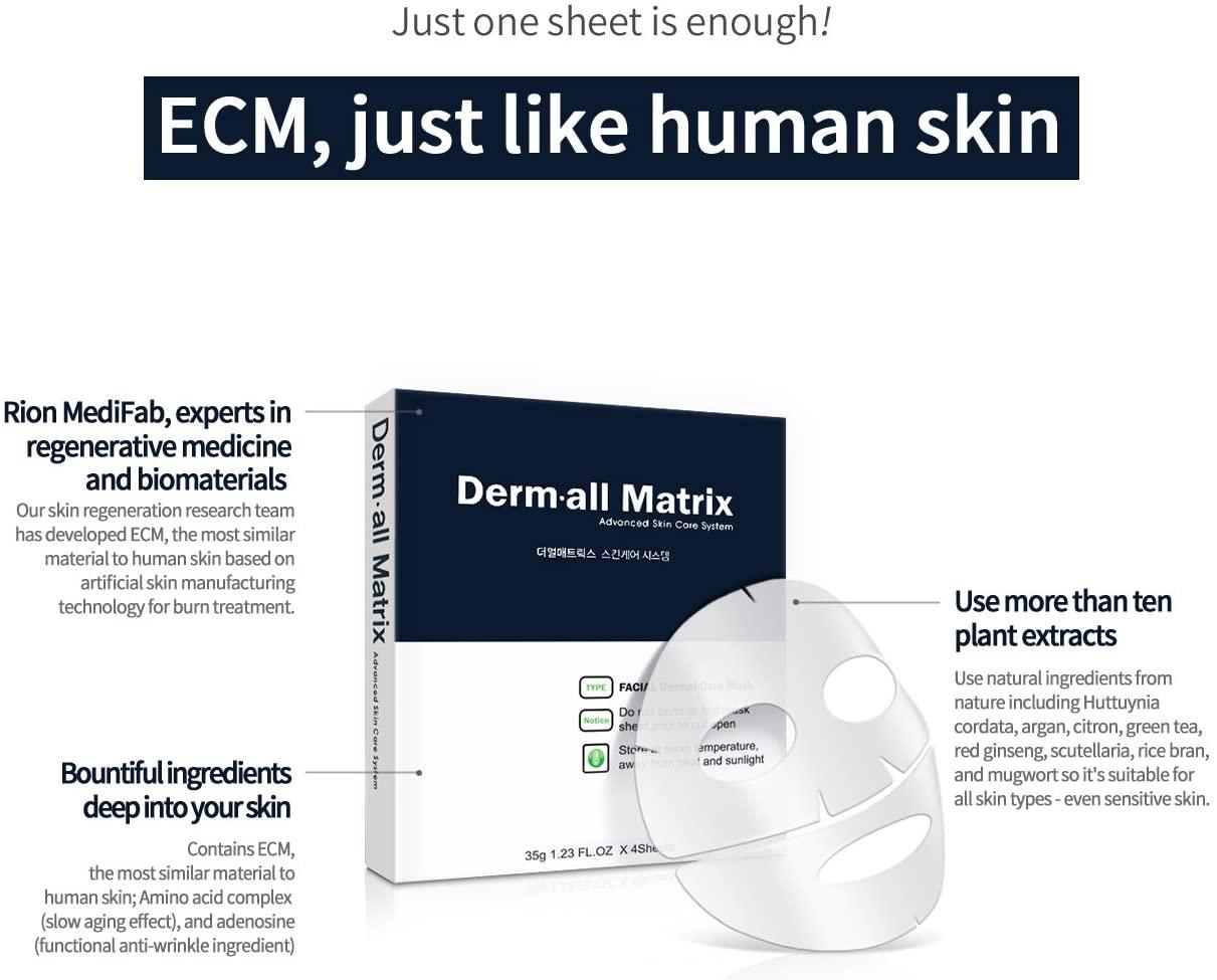 Mặt Nạ Derm All Matrix Facial Dermal-Care Mask được làm từ chất liệu sinh học - nền ngoại bào ECM có cấu trúc tương đồng với da người