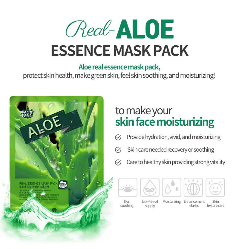 Mặt Nạ Aloe Real Real Essence Mask Pack chiết xuất Nha Đam dưỡng ẩm và làm dịu mát da
