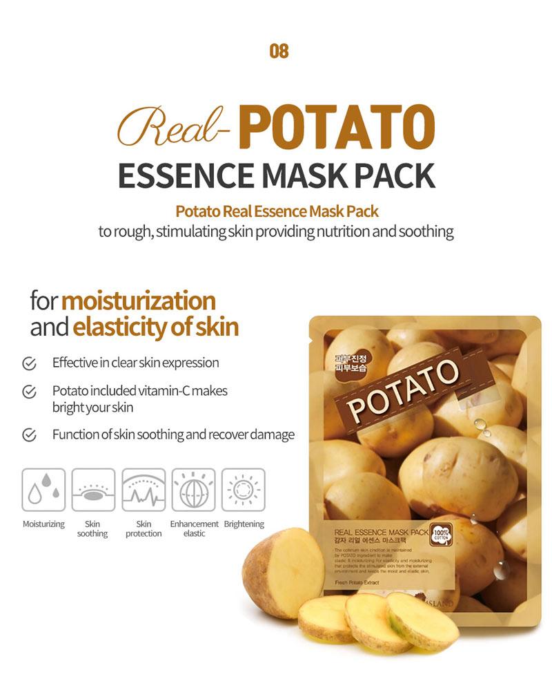 Mặt Nạ Potato Real Essence Mask Pack chiết xuất khoai tây dưỡng sáng và làm đều màu da