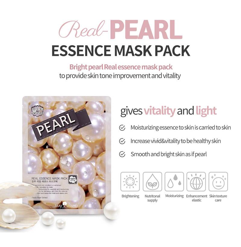Mặt Nạ Pearl Real Essence Mask Pack chiết xuất Ngọc Trai dưỡng da sáng mịn đều màu