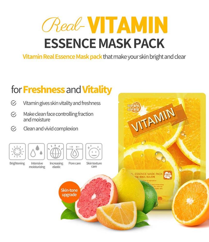 Mặt Nạ Vitamin Real Essence Mask Pack dưỡng da sáng mịn đều màu