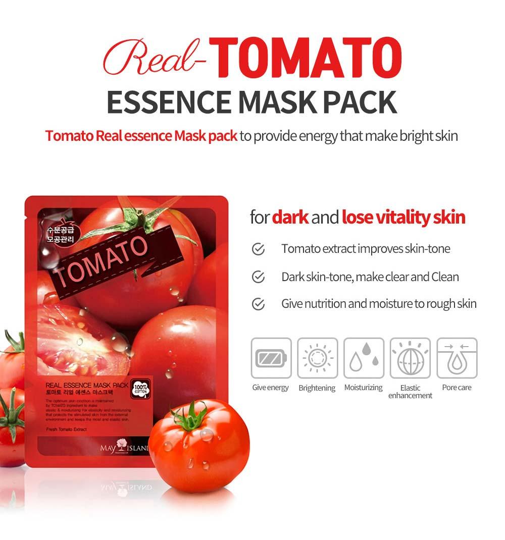 Mặt Nạ Cà Chua Tomato Real Essence Mask Pack giúp cải thiện tông màu da