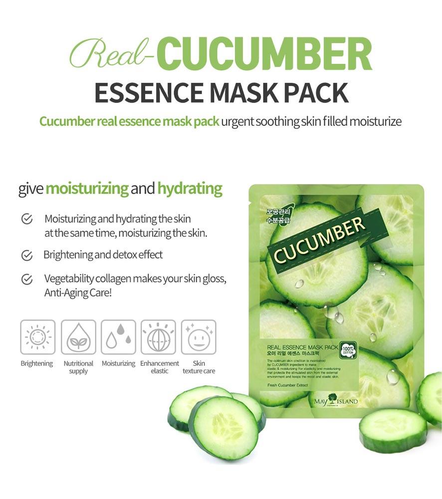 Mặt Nạ Cucumber Real Essence Mask Pack chiết xuất Dưa Leo dưỡng ẩm và làm dịu mát da tức thì.