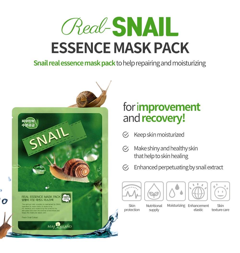 Mặt Nạ Snail Real Essence Mask Pack chiết xuất Ốc Sên giúp phục hồi da hư tổn