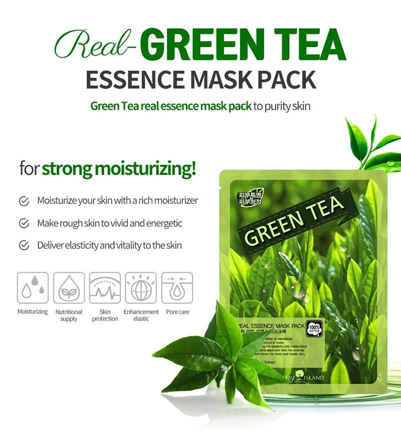 Mặt Nạ Green Tea Real Essence Mask Pack chiết xuất Trà Xanh thanh lọc và chống oxy hóa