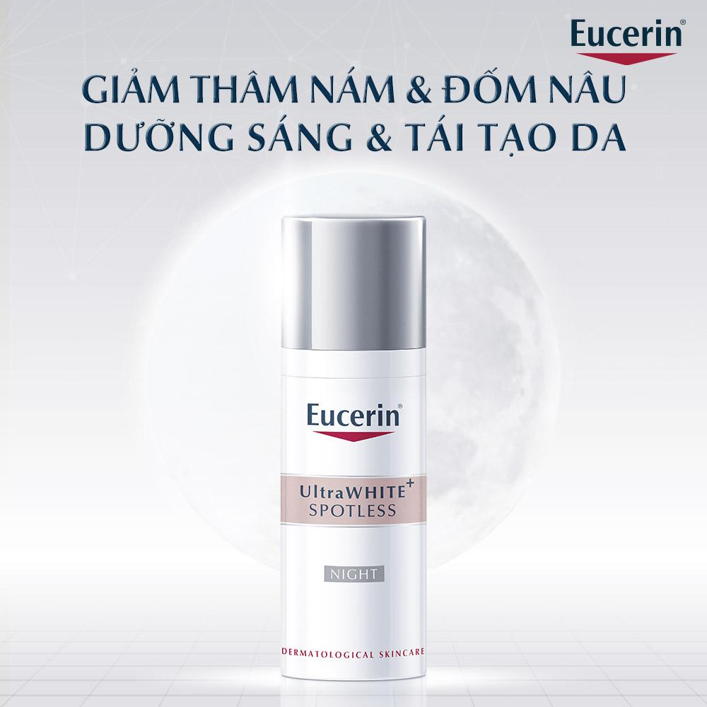 Kem Dưỡng Eucerin UltraWHITE+ SPOTLESS Night Fluid giúp kích thích quá trình tái tạo da ban đêm, mang đến làn da đều màu và rạng rỡ.