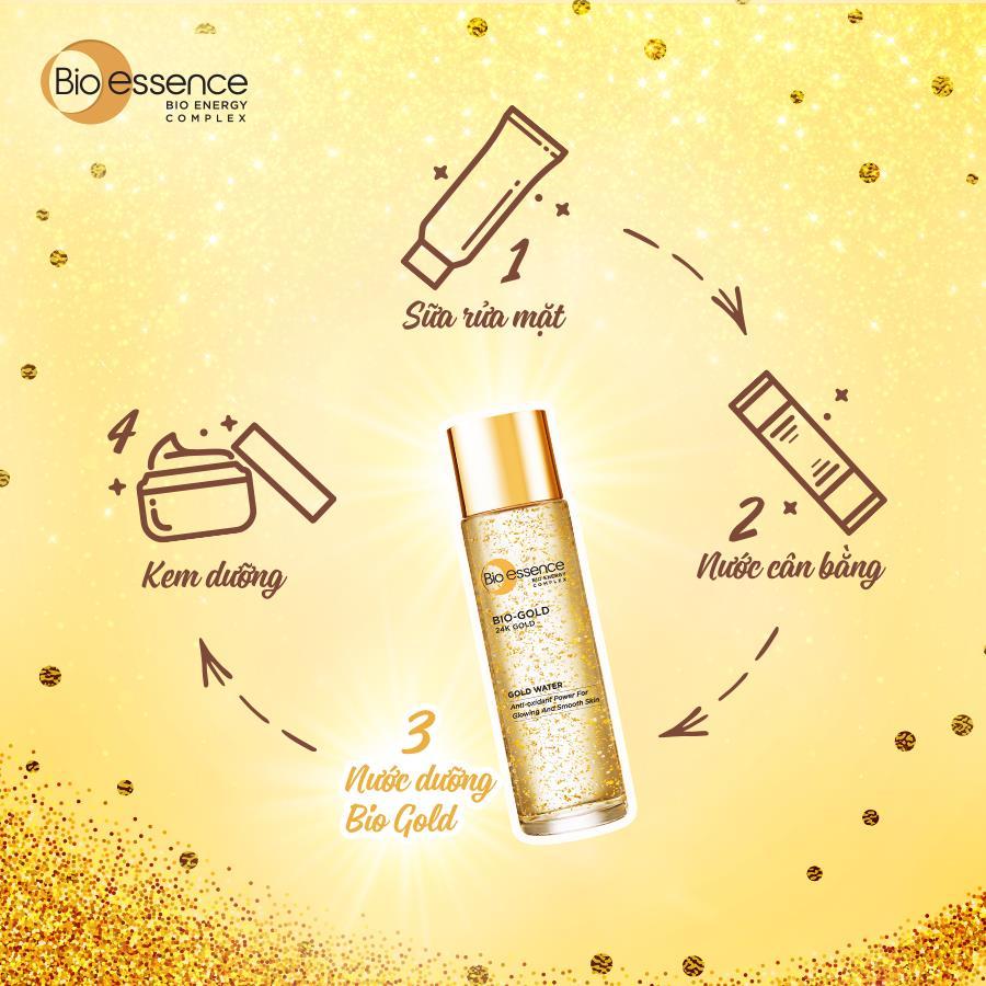 Sử dụng Nước dưỡng Bio-essence 24K Bio Gold Water thay cho bước Serum