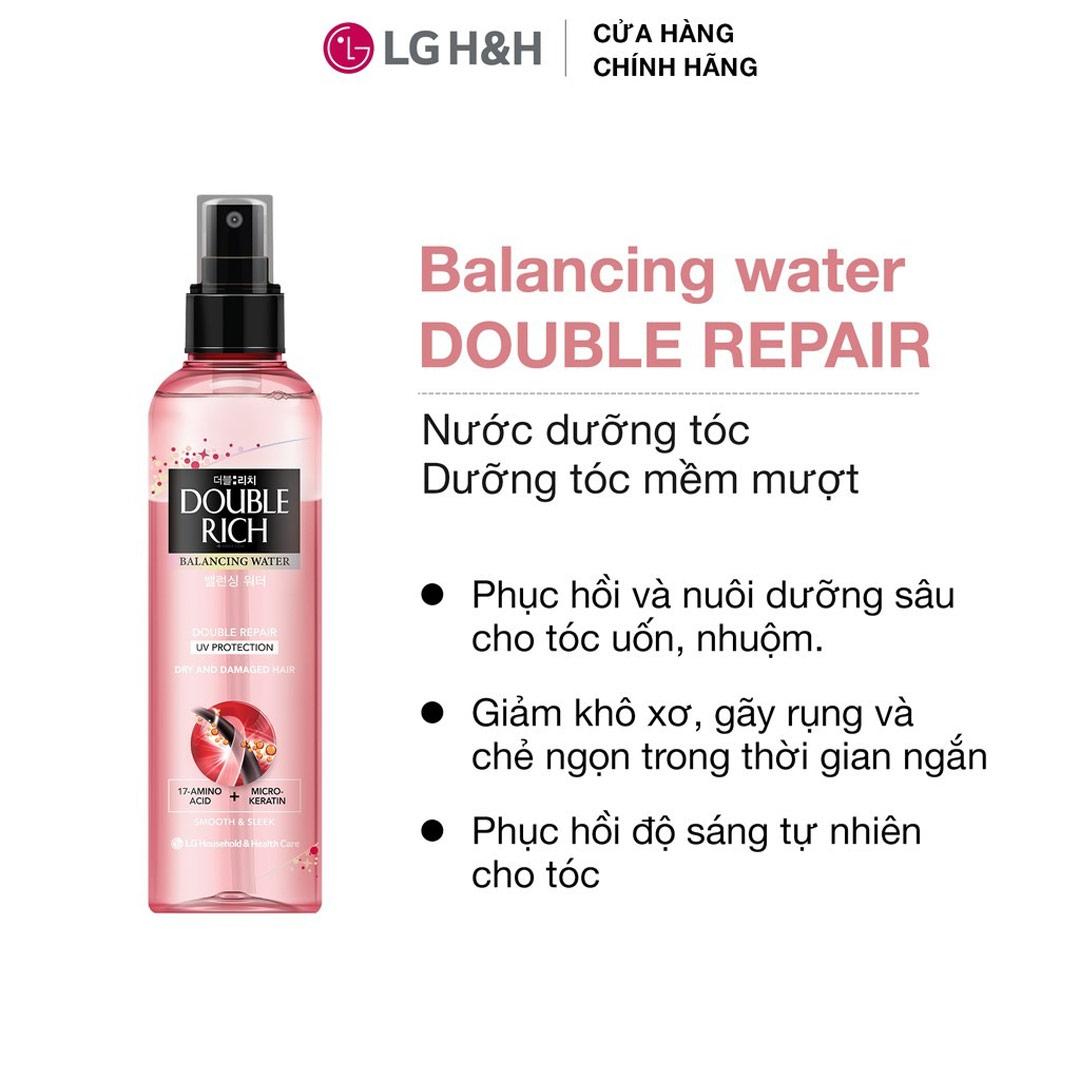 Nước Dưỡng Tóc Double Rich Balancing Water Double Repair UV Protection Chăm Sóc Tóc Khô & Hư Tổn 120ml