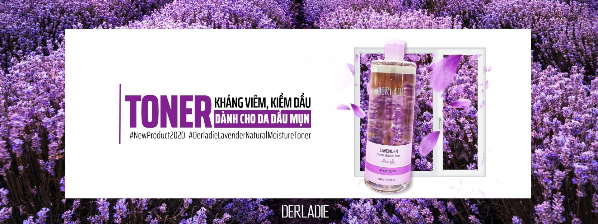 Nước Hoa Hồng Dành Cho Da Mụn Chiết Xuất Lavender Derladie Lavender Natural Moisture Toner 500ml