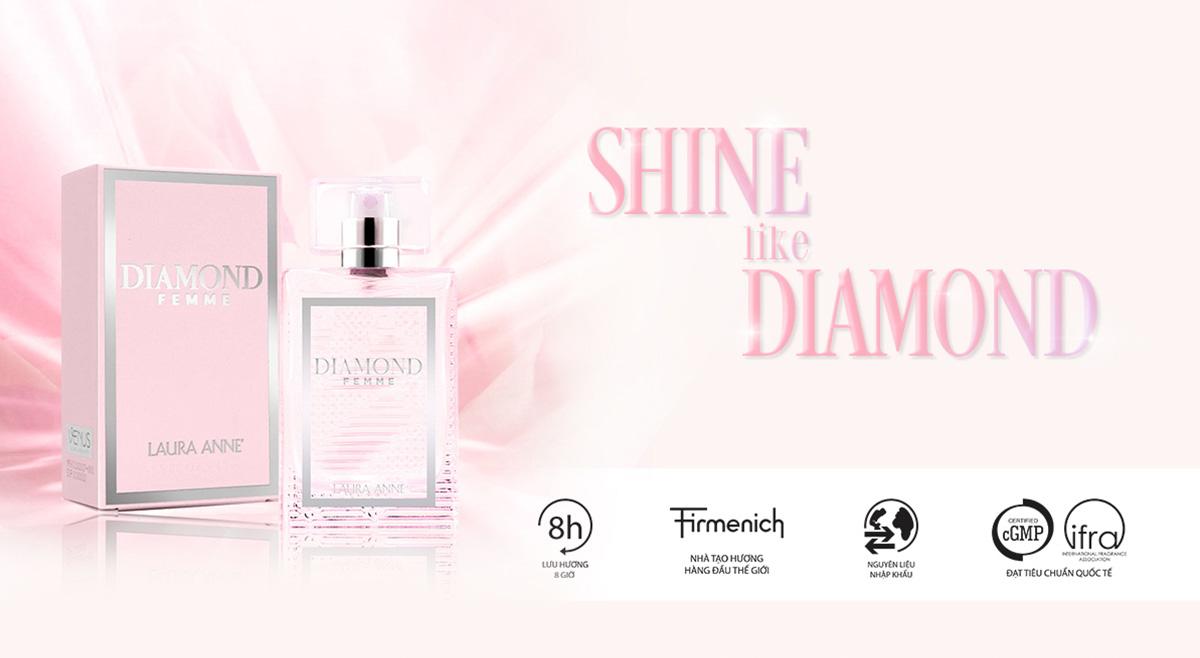 Nước Hoa Nữ Laura Anne DIAMOND pour FEMME Eau De Parfum (Pink)