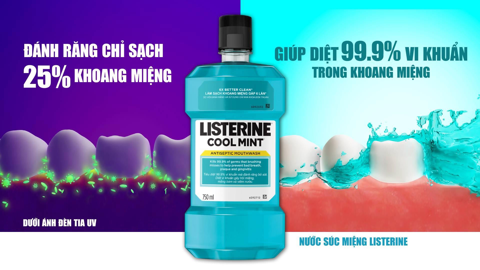 Nước Súc Miệng Hơi Thở Thơm Mát Listerine Cool Mint Mouthwash giúp diệt 99.9% vi khuẩn gây hôi miệng