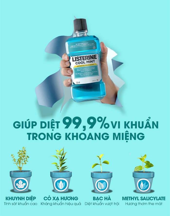 Nước Súc Miệng Hơi Thở Thơm Mát Listerine Cool Mint Mouthwash bảo vệ sức khoẻ trong mùa dịch