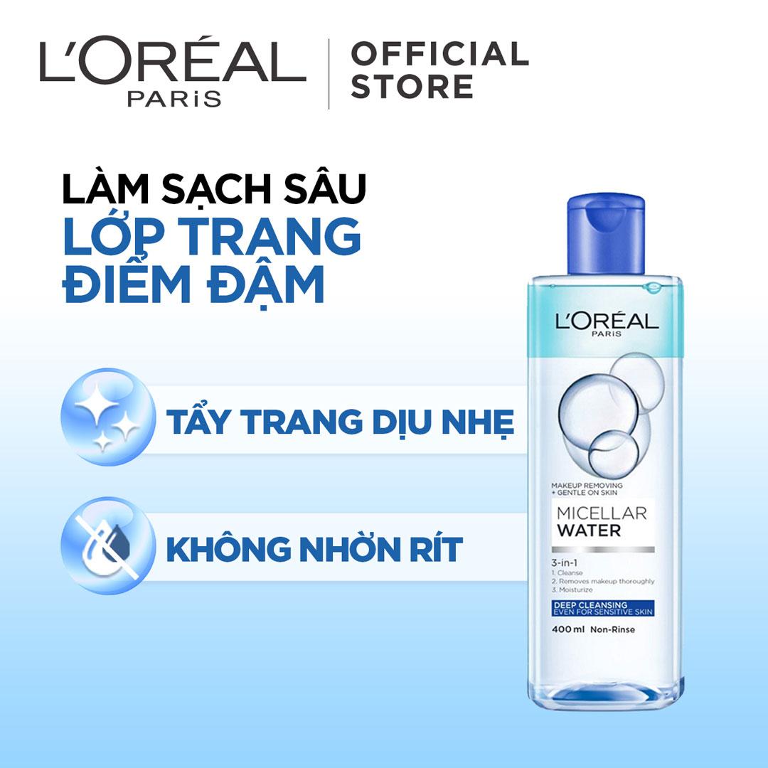 Nước Tẩy Trang L'Oreal Micellar Water 3-in-1 Deep Cleansing Even For Sensitive Skin Làm Sạch Sâu Trang Điểm
