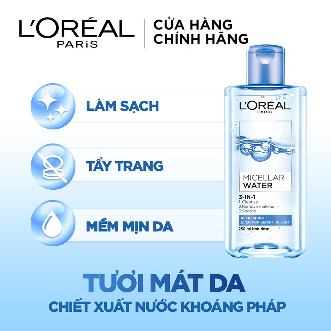 Nước Tẩy Trang L'Oreal Micellar Water 3-in-1 Refreshing Even For Sensitive Skin Tươi Mát Cho Da Dầu, Hỗn Hợp