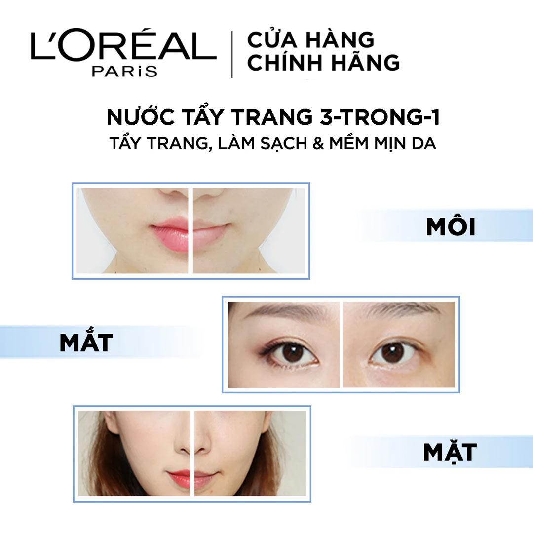Nước Tẩy Trang L'Oreal Micellar Water 3-in-1 Refreshing Even For Sensitive Skin Tươi Mát Cho Da Dầu, Hỗn Hợp hiện đã có mặt tại Hasaki