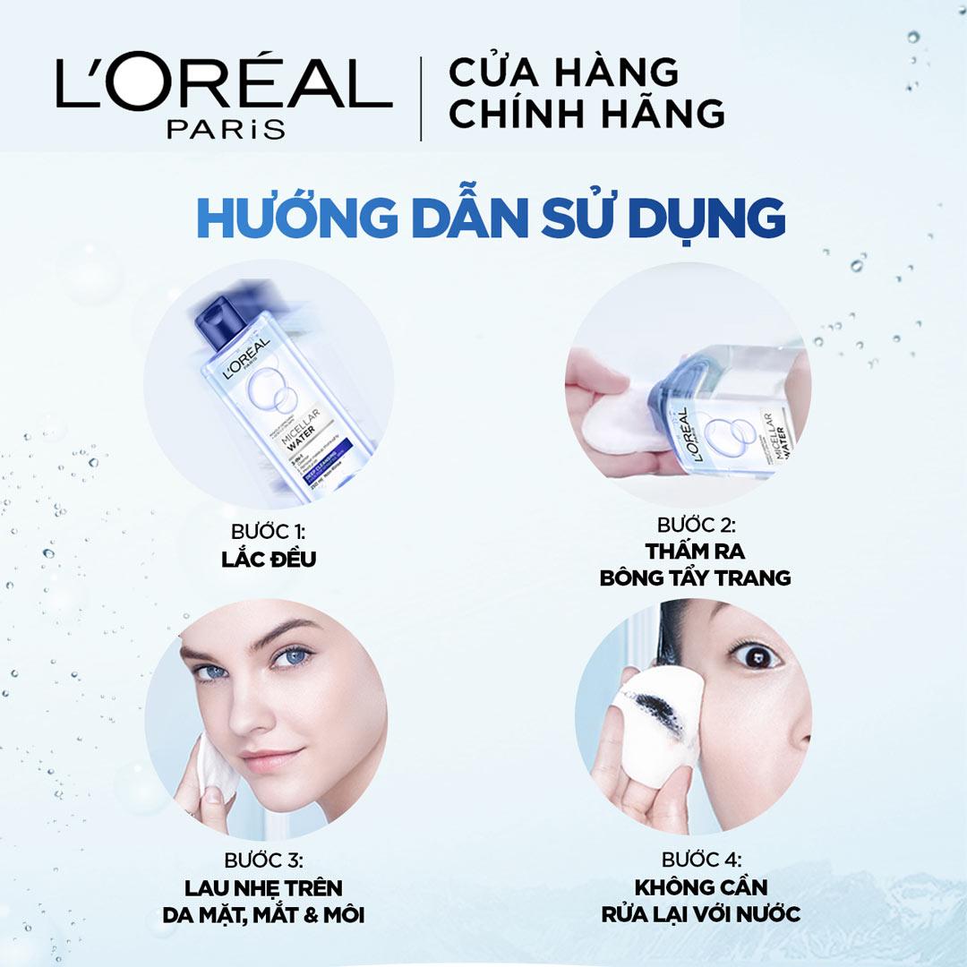 Hướng dẫn sử dụng Nước Tẩy Trang L'Oreal Micellar Water 3-In-1