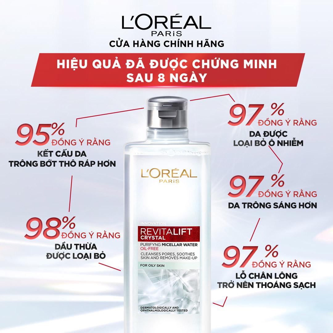 Nước Tẩy Trang L'Oréal Paris Revitalift Crystal Purifying Micellar Water 400ml hiện đã có mặt tại Hasaki