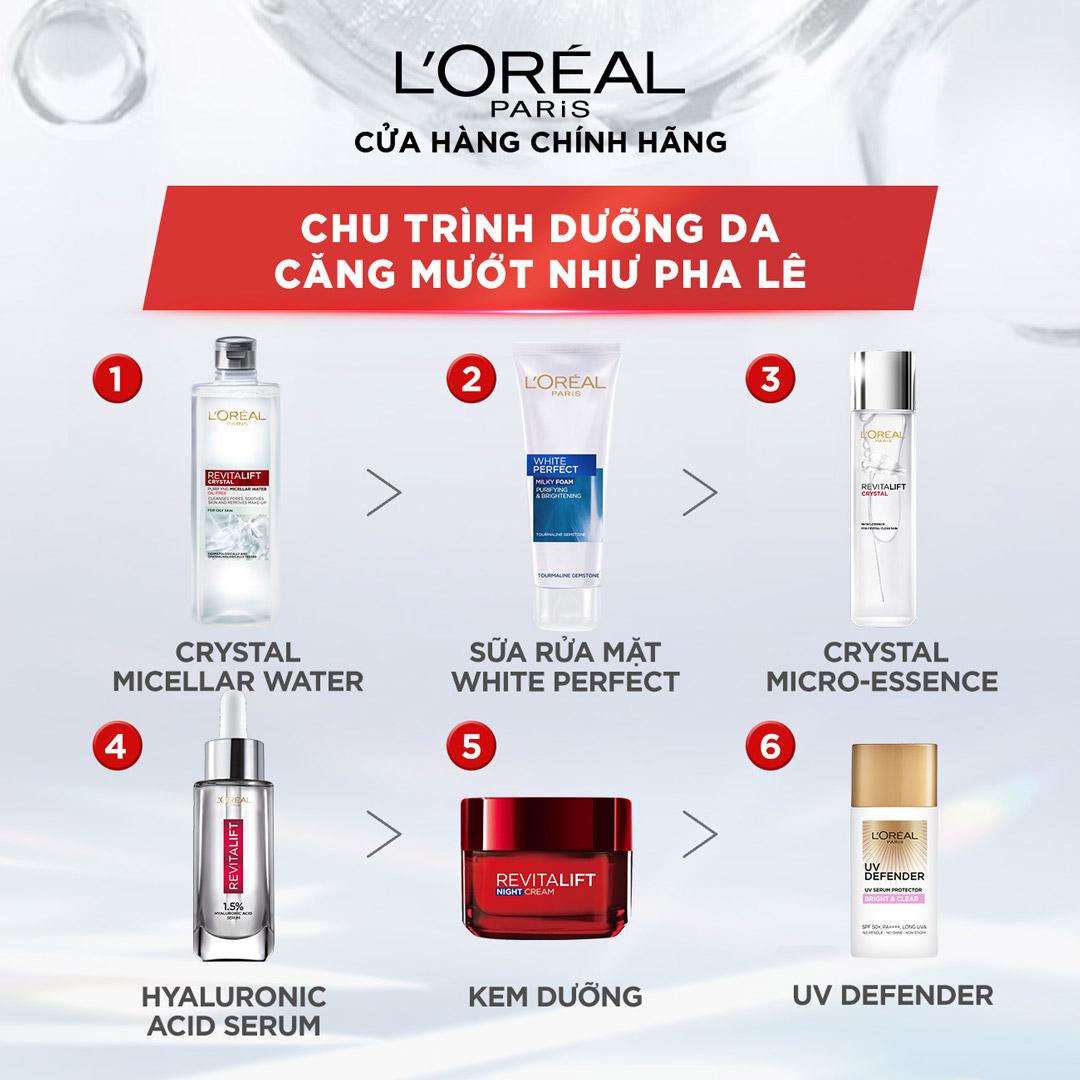 Nước Tẩy Trang L'Oréal Paris Revitalift Crystal Purifying Micellar Water giúp làm sạch sâu lỗ chân lông mà vẫn dịu nhẹ, không gây khô căng, mang lại cho bạn làn da sáng mịn và căng mướt như pha lê.